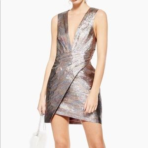 Topshop Rainbow Metallic Wrap Dress